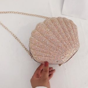 Handbags - NWT Sequined Mermaid Shell Purse in Light Pink